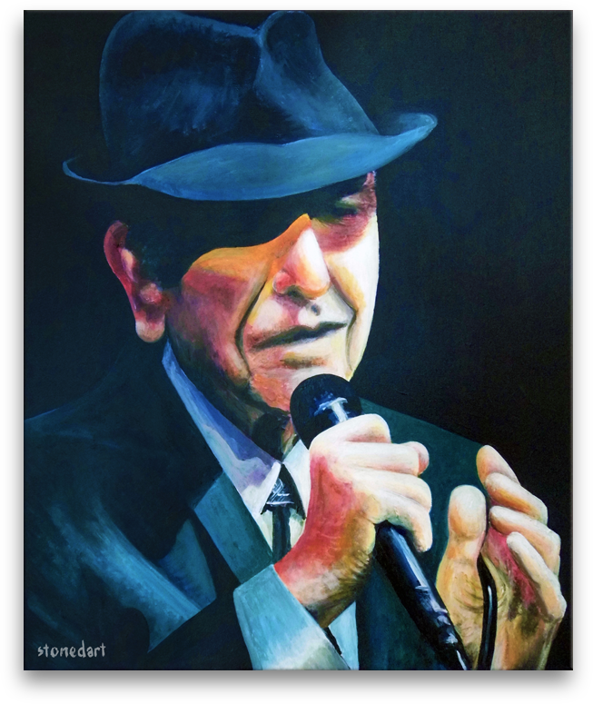Leonard Cohen original painting art